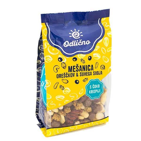 Mešanica oreškov & suhega sadja s čoko krispiji Odlično, 200 g