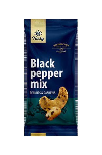 Mešanica arašidov in indijskih oreščkov s črnim poprom Tasty, 60 g