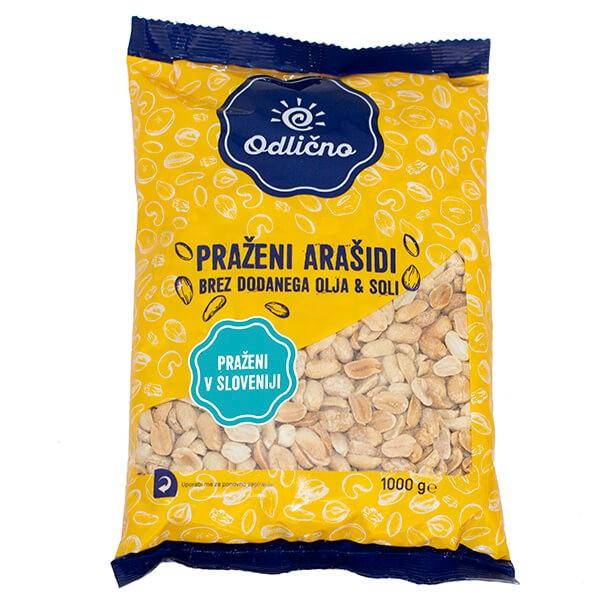 Praženi arašidi brez dodanega olja & soli Odlično, 1000 g