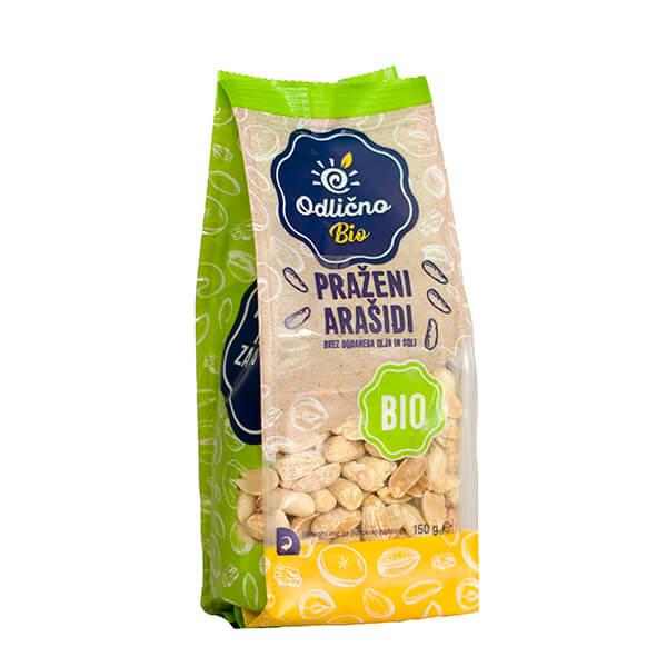 BIO Praženi arašidi brez dodanega olja & soli bio Odlično, 150 g